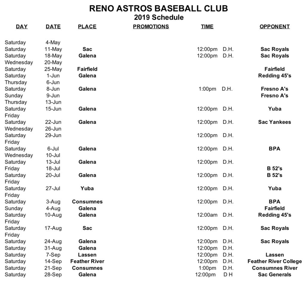 Reno Astros 2019 Schedule